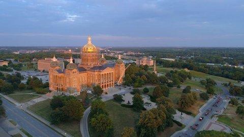 Aerial video of the Iowa State Capitol Building under repair 2017