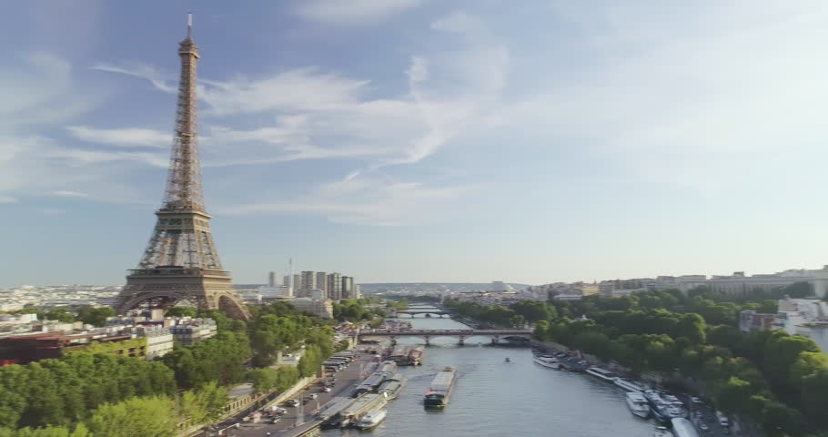 Paris Aerial Seine river Eiffel Tower sunset | Shutterstock HD Video #30224644