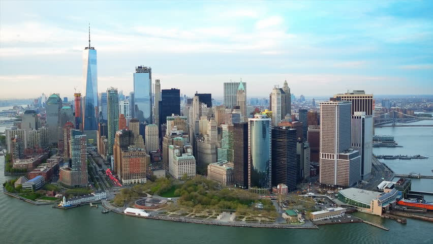 Aerial view of The Financial District in Lower Manhattan. Cityscape and famous skyscrapers of the Financial District. Shot from helicopter. | Shutterstock HD Video #30246424