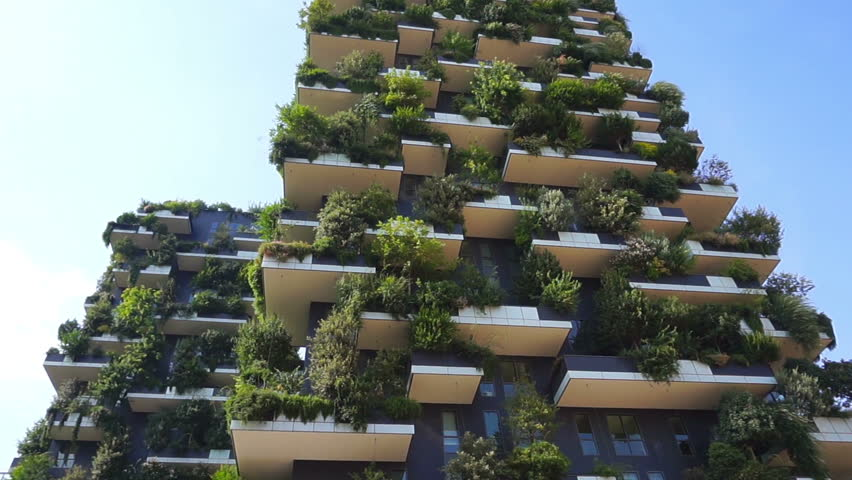 Modern and ecologic skyscrapers with many trees on every balcony. Bosco Verticale, Milan, Italy