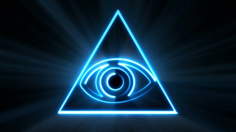 Abstract background with The Eye of Providence. Seamless loop digital backdrop. 3d rendering