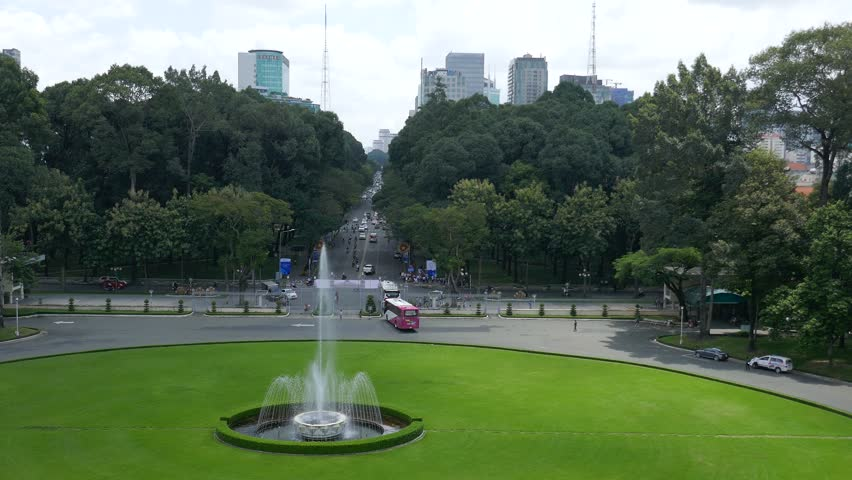 HO CHI MINH CITY, Vietnam - AUG 25, 2017 : Independence Palace in Ho Chi Minh City. Independence Palace is known as Reunification Palace( DINH THONG NHAT or DINH DOC LAP ) and was built in 1962-1966