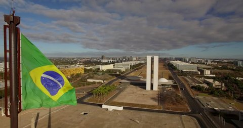 Brasilia aerial - approaching National Congress past National Flag