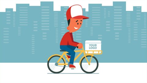 Cartoon young man riding a bicycle with delivery box on it. Looped animation. Man on cityscape background, man on transparent background and moving background versions. PNG+Alpha.
