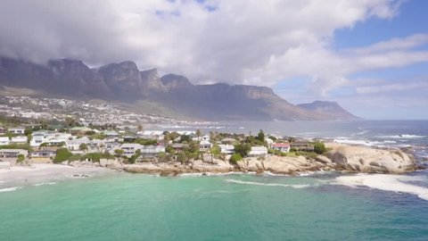 Aerial over Clifton and Camps Bay in Cape Town, South africa