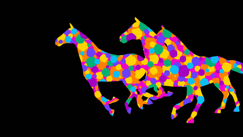 Stylized horses. 7 different animations. Alpha channel. Alpha matte. 4K. | Shutterstock HD Video #30366364