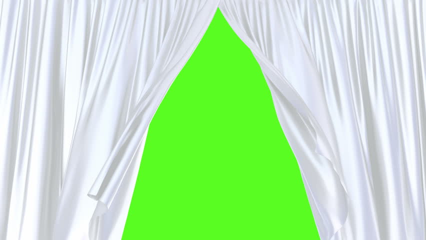 3D animation of the silky white curtains moving with the wind revealing the background, chroma key and alpha mask are included