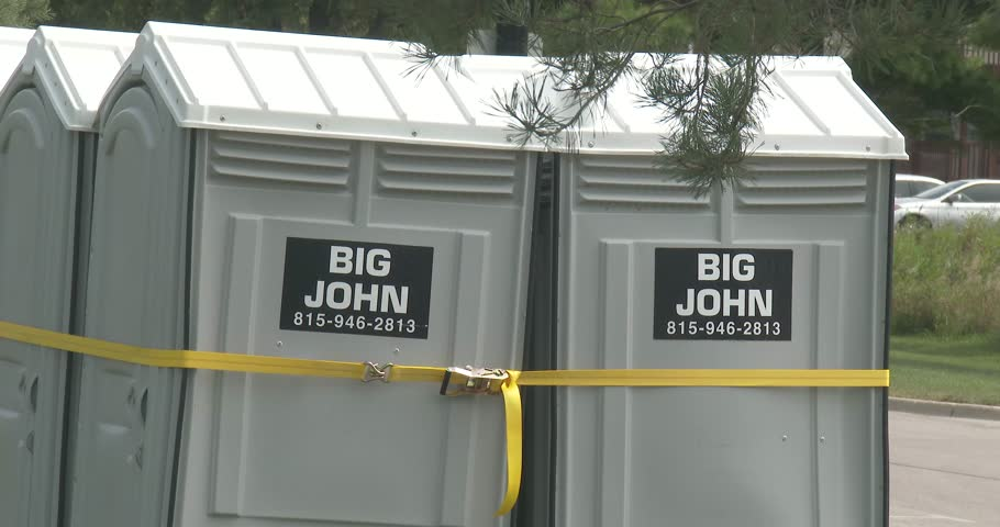 Superior September 2, 2017, DeKalb, Illinois, Portable Toilets Strapped Together, Big  John