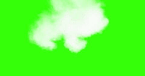 vertical blowing steam with white smoke isolated on chroma key green screen  background, with alpha channel