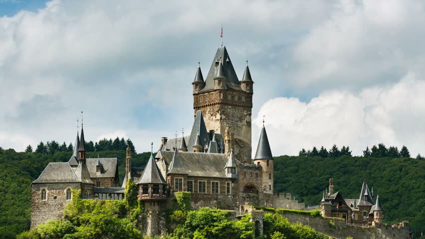 Summer timelapse sequence of the Reichsburg Cochem in the Moselle Valley in Germany with fast moving clouds in the background in 4K resoultion. | Shutterstock HD Video #30408163