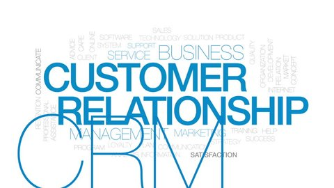 Customer relationship animated word cloud, text design animation. Kinetic typography.