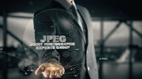 JPEG-Joint Photographic Experts Group with hologram businessman concept