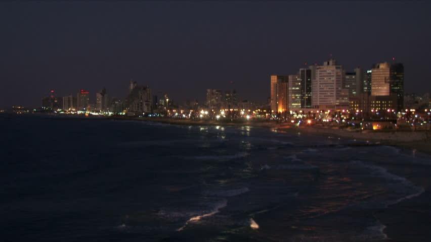City beach night wide shot.