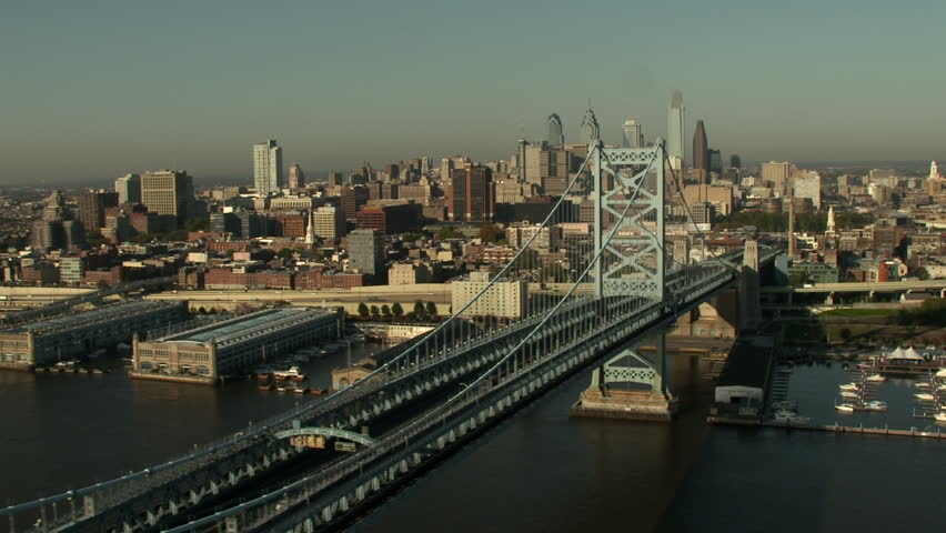Aerial shot of Philadelphia from the Ben Franklin bridge.