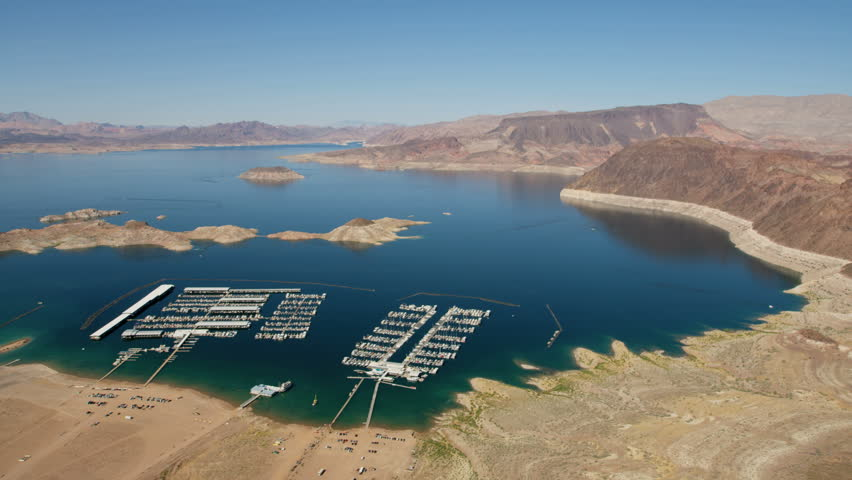 Aerial landscape view of Las Vegas Bay boat Marina Lake Mead a desert valley a remote Wilderness a travel destination Las Vegas Nevada USA RED WEAPON | Shutterstock HD Video #30456694
