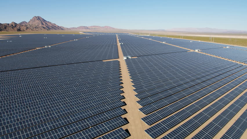 Aerial desert view Boulder Solar Project solar panels harvesting clean energy from the sun Las Vegas Nevada USA RED WEAPON | Shutterstock HD Video #30458314