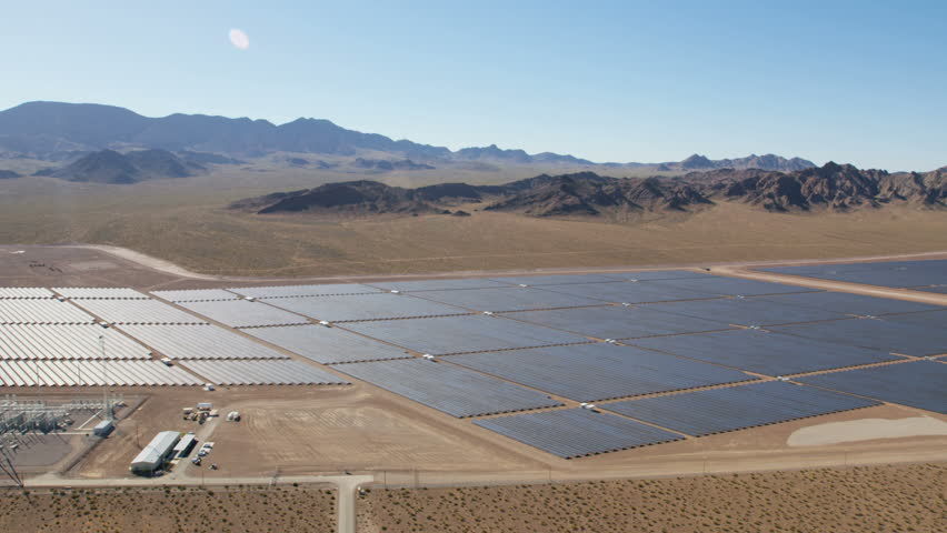 Aerial View Solar Panels Harvesting Clean Energy From The