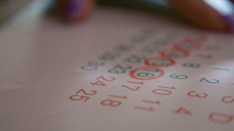 Female hand marking dates on calendar planning birth control