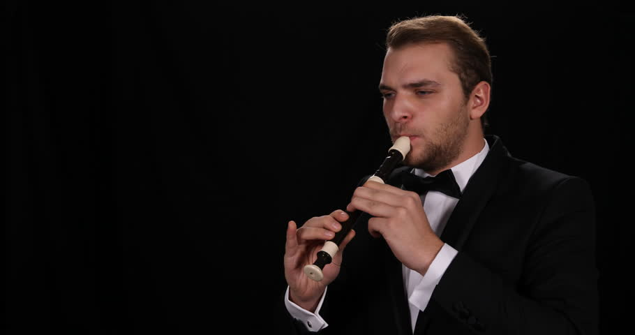 Recorder Flute Player Gifted Musician Man Playing Flutist Sing Orchestra Concept