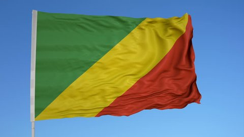 Looping flag for Congo Brazzaville on flag pole, blowing beautifully in the wind. Includes alpha matte.