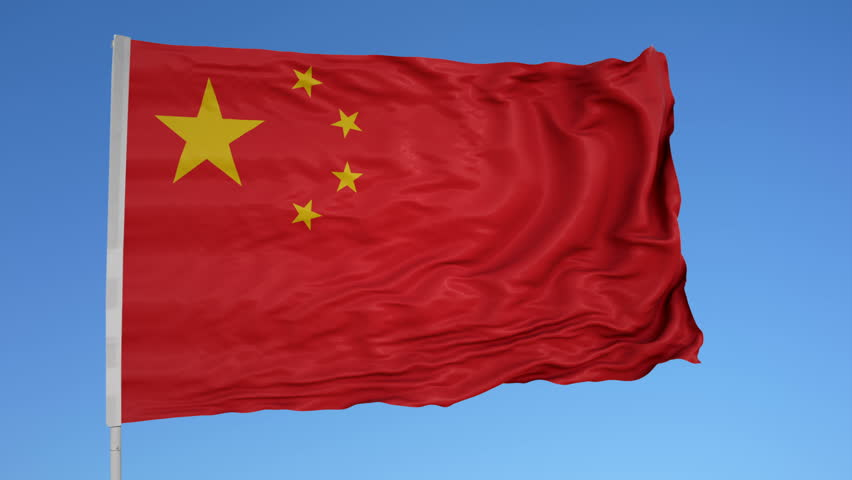 Looping flag for China on flag pole, blowing beautifully in the wind. Includes alpha matte.
