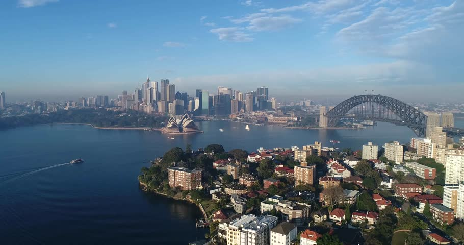 Flying back from Kirribilli suburb of Sydney's lower north shore and distant CBD landmarks including Harbour Bridge.