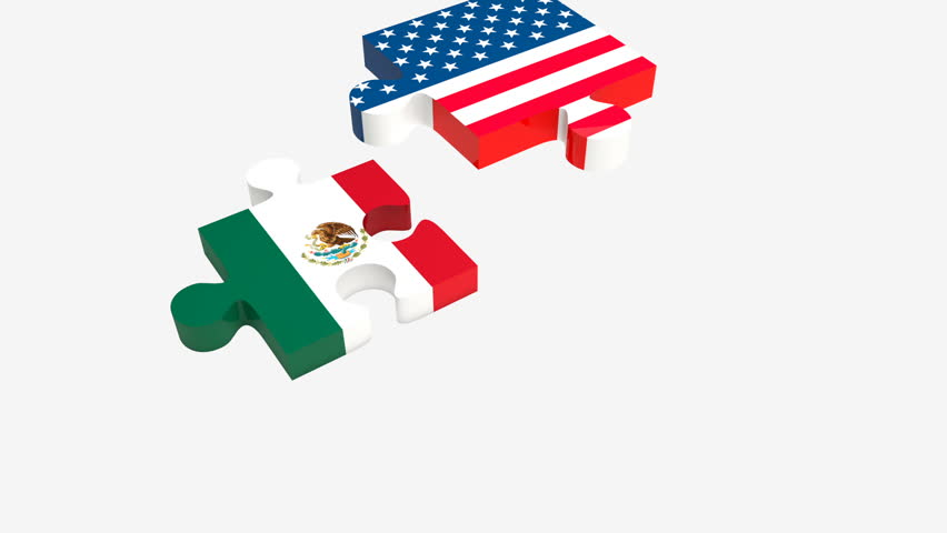 Jigsaw puzzle pieces with American, Canadian and Mexican flags. NAFTA trade agreement members concept. | Shutterstock HD Video #30525334