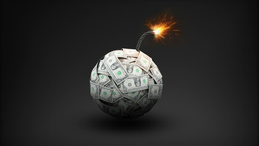 Dollar currency makes bomb, Explode to make a typo 'CRASH' | Shutterstock HD Video #30533893