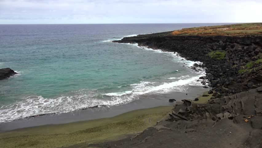 Looking over Green Sand Beach (Papakolea). Big Island, Hawaii, USA