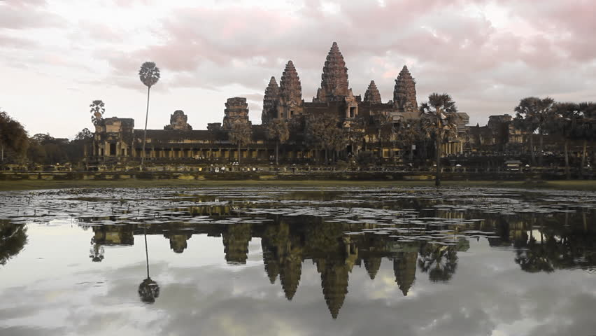 Sunset at Angkor Wat temple in Cambodia November 20 2012