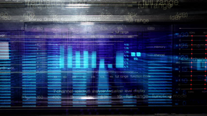 Music graphic equalisers and audio analysis clip. shot from the display of a stereo hifi system | Shutterstock HD Video #3053614