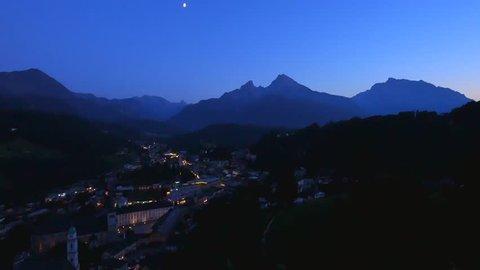 View of town Berchtesgaden at Night with parish church St. Andrew, abbey church St. Peter, Watzmann behind, Berchtesgadener Land, Upper Bavaria, Bavaria, Germany, Europe