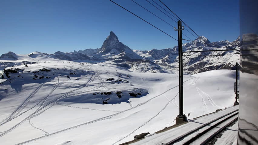 View from railway to Gornergrat, with Matterhorn in the background, Switzerland, Europe