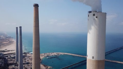 Coal and Gas fired power station - Aerial view including a Flue-Gas chimney