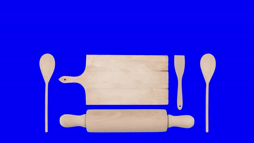 Lower thirds animation: big kitchen utensils (cutting board, rolling pin, spatula, spoon) appear and disappear. On green, blue, white and black backgrounds.