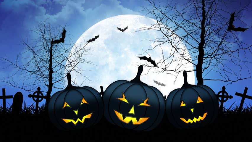 halloween background animation with the concept of spooky pumpkins moon and bats 4k - Halloween Background Video