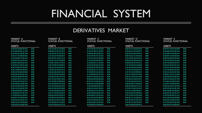 "A fictional data sheet displays a market of financial derivatives that fails gradually. Motion graphic. The term ""toxic assets"" has been widely used during the 2008 financial crisis. 