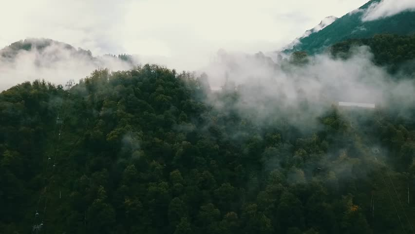 Mountainside In Clouds. Slope. Ridge Aibga, Rosa Khutor, Sochi | Shutterstock HD Video #30603394