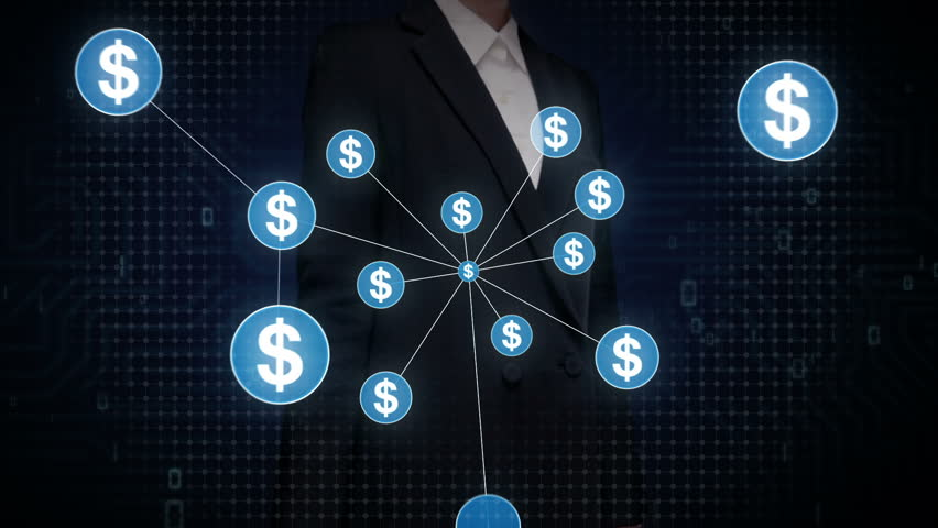 Businesswoman touching Dollar currency symbol, Numerous dots gather to create a Dollar currency sign, dots makes global world map, internet of things. financial technology 1. | Shutterstock HD Video #30618364