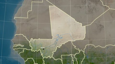 The Mali area map in the Azimuthal Equidistant projection. Layers of main cities, capital, administrative borders and graticule. Satellite imagery
