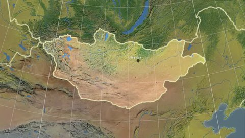 The Mongolia area map in the Azimuthal Equidistant projection. Layers of main cities, capital, administrative borders and graticule. Main physiographic features
