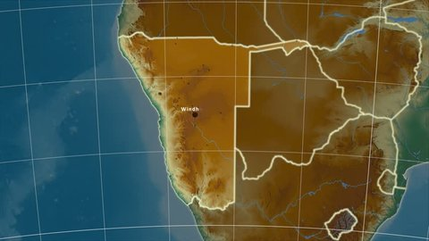 The Namibia area map in the Azimuthal Equidistant projection. Layers of main cities, capital, administrative borders and graticule. Relief map