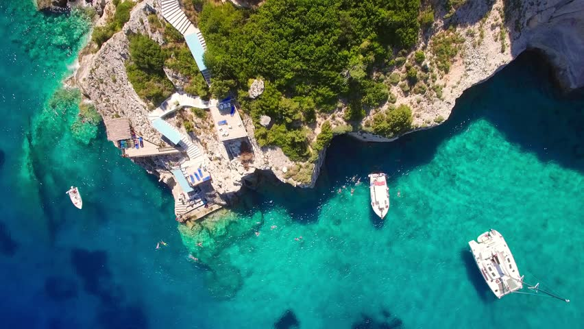 4K Aerial  view of  Agios Nikolaos blue caves  in Zakynthos (Zante) island, in Greece - UHD | Shutterstock HD Video #30662584