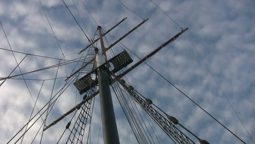 Mast of a schooner in Toronto Harbour. Birds come into frame to perch on rigging. | Shutterstock HD Video #306754