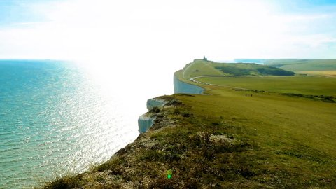 Seven Sisters is a series of chalk cliffs by the English Channel.  form of the South Downs in East Sussex, between the towns of Seaford and Eastbourne in southern England.  Video footage
