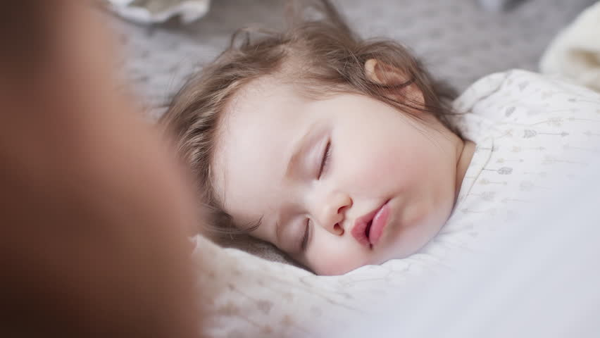 Beautiful Baby Boy In Diapers Lying On Bed And Young -2701