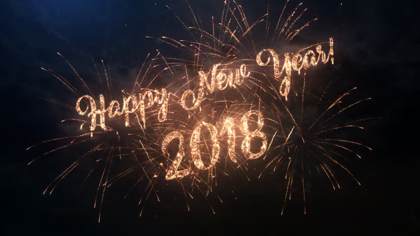 2018 Happy New Year greeting text with particles and sparks on black night sky with colored slow motion fireworks on background, beautiful typography magic design. | Shutterstock HD Video #30685990
