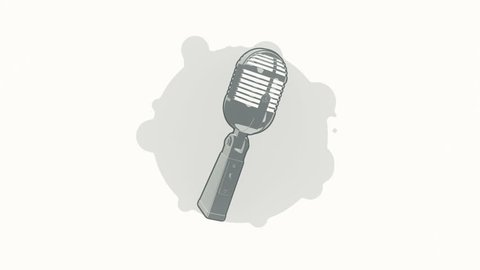 Animation rotation microphone in flat icon style on colorful background with circle with flying particles. Line art style. Animation of seamless loop.