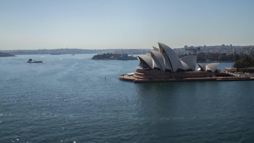 Tilt shift timelapse of Sydney Opera House with ferrys passing