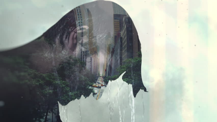 Double exposure portrait of a man under the shower and big city street